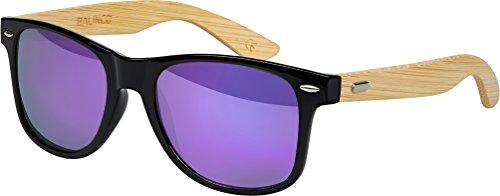 Hochwertige Bambus Holz Nerd Sonnenbrille Retro Vintage Unisex Brille mit Federscharnier - 9 verschiedene Farben/Modelle wählbar (Bambus - Lila verspiegelt)
