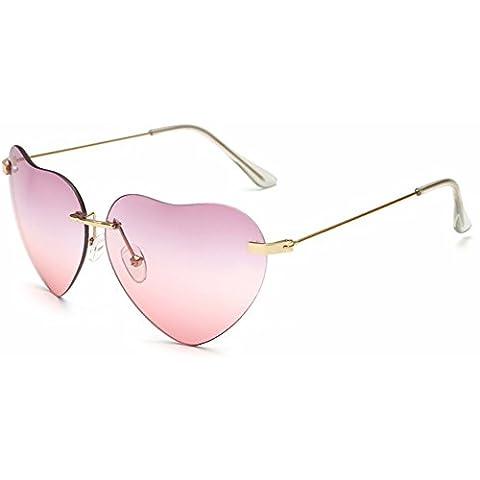 Dollger Heart Sunglasses Thin Metal Frame Lovely Aviator Style For Women(Rimless Pink Lens+gold