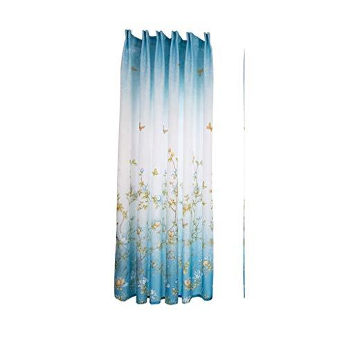 YSFWL Wohnaccessoires & Deko Fensterdekoration VorhäNge Kaufen Gardinen Zweig Schmetterling Holzmaserung Einzelstück Haken Typ Wohnzimmer 200x100cm (Höhe x Breite) (Blau) -
