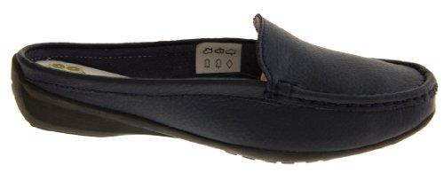 Coolers Damen Leder und Kunstleder Sommer Maultiere Schuhe Marine Blau