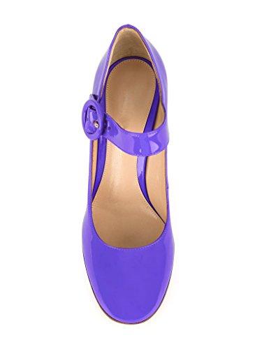 EDEFS Escarpins Femme Bride Cheville Boucle Bout Rond Mary Janes Chaussures Pompes a Talon de Mariee Mariage Violet