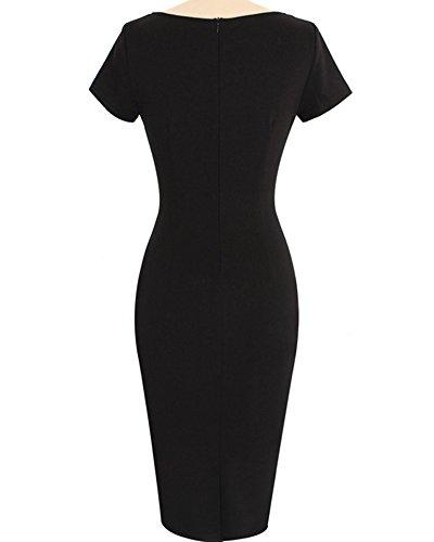 Damen Etuikleid Knielang Business Kleid Elegantes Abendkleid Pencil Kleider Kaki