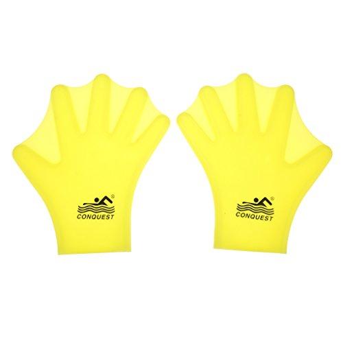 Generic Schwimmhäuten / Schwimmen Handschuhe Silikon Hand Paddel - Aqua Fitness Handschuh - Swim Gloves - Gelb, Erwachsene