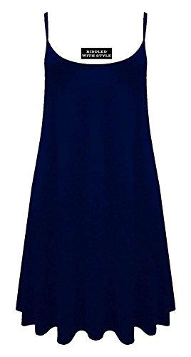 Fashion Fairies - Vestito da donna, svasato lungo, taglie forti, smanicato, stampato con motivo mimetico, taglia 36-54 blu navy