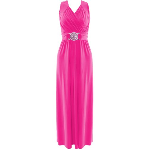 Da donna Maxi vestito da sera Buckle Wrap over cocktail party lungo gonna top Cerise