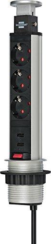 Brennenstuhl Tower Power, Tischsteckdosenleiste 3-fach (Steckdosen-Turm, 2-fach USB, 2m Kabel, komplett in Tischplatte versenkbar) Farbe: alu/schwarz
