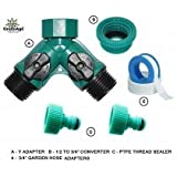 """GreenAge DRIP IRRIGATION - TWO WAY CONTROL Y ADAPTER 3/4"""" FXM-WITH 3/4"""" TO 1/2""""REDUCER, PTFE TAPE AND TWO PIECES OF GARDEN HOSE ADAPTERS-SET"""