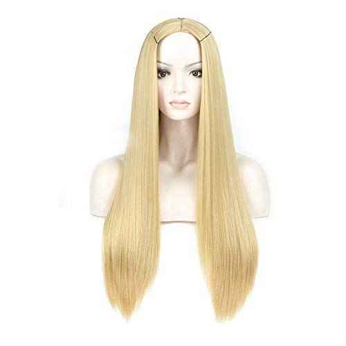 Blonde Volle Kappe (LEERAIN Lange Gold Gerade Perücken, Volle Kappe Blonde Perücke, Klassisch Haarstücke, Synthetik Glueless Perücke, Cosplay Mode Für Frauen (70cm))