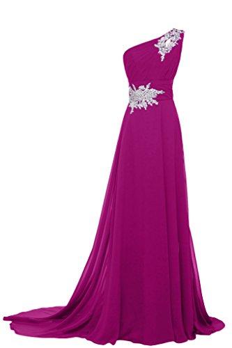 Sunvary elegante Chiffon spalla con visiera Fodero vestito da sera, Donna Fuchsia