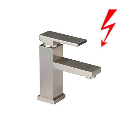 Niederdruck Wasserhahn Bad Armatur Waschtischarmatur | Einhebelmischer | gebürstetes Nickel