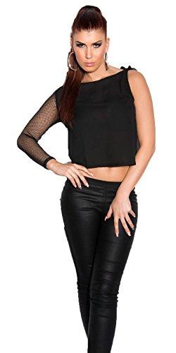 Koucla Damen One Shoulder Shirt Ein-Arm Top mit Netz Ärmel | Langarmshirt Longsleeve aus Chiffon Schwarz