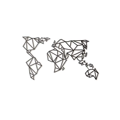 Hoagard Metal World Map Black - Hoagard Weltkarte aus Metall Schwarz | 60cm x 100cm | Geometrische Metallwandkunst, Wanddekoration (Wand-dekor-metal-familie)