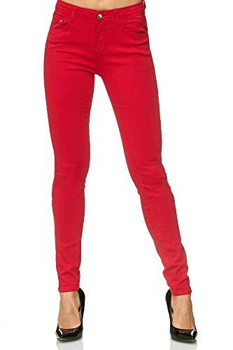 Elara Damen Stretch Hose | Skinny Röhrenjeans | Elastischer Bund | Slim Fit | Chunkyrayan E746-8 Red 40