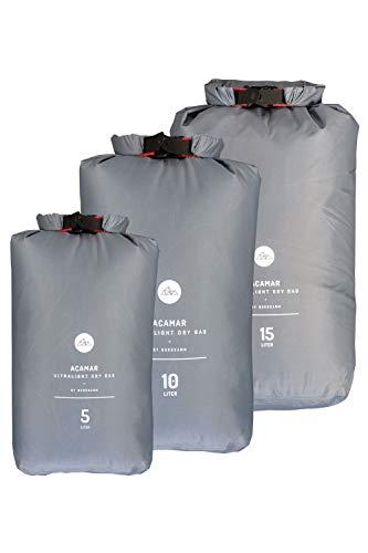 NORDKAMM Dry-Bag, Trockensack, Trockenbeutel, wasserfeste Tasche, 5l, 10l, 15l oder Set, leicht, Ultra-Light, für Reisen, Rucksack, wasserdicht (Grau, Set (5L, 10L, 15L))