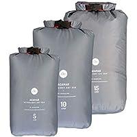 NORDKAMM Bolsa estanca ligera, Bolsa impermeable, Bolsa seca, Dry Bag set (5l, 10l, 15l), prueba de agua, para: viaje, kayak, bicicleta, surf