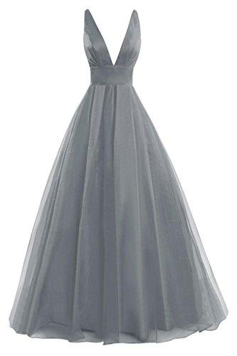 JAEDEN Sexy Damen A-Linie Tuell Ballkleider Lang V-Ausschnitt Abendkleid Festkleid Brautjungfernkleid Grau