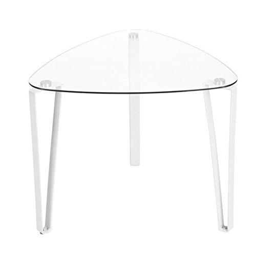 STOKE Table basse style contemporain en métal blanc + plateau en verre trempé - L 56 x l 56 cm