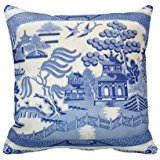 ABartonArtsale Blue Willow 3375 Zippered Pillow Cases Cover Cushion Case 18x18 Inch Vintage Blue Willow