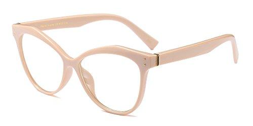 BOZEVON Donna Moda Classico Montatura Occhiali da Vista Occhiali con Lenti Trasparenti Occhio di gatto Festa Occhiali, Cachi