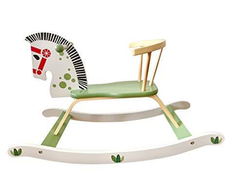 Schaukelpferd aus Holz groß grün/weiß Pferd Holzspielzeug Tolles Geschenk ab 1 Jahr super süß Hutschpferd mit Lehne