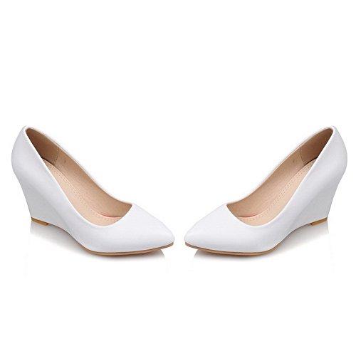 AllhqFashion Damen Spitz Zehe Hoher Absatz Rein Ziehen Auf Pumps Schuhe Weiß