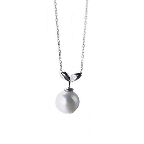 Helen de Lete Wenig Pflanze Perle Knospe 925 Sterling Silber Halsband Halskette (Knospe Für Weniger)