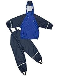 Elka Ensemble imperméable Pantalons imperméables + Veste de pluie pour enfants, rayé et unicolore Couleur tailles différentes 220g/Polyester