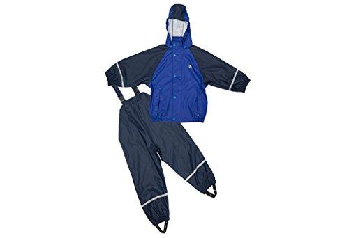 Elka Regenanzug Regenhose + Regenjacke für Kinder, gestreift und einfärbig Farben viele Größen 220g/Polyester (86/92, Marine Blau mit Fleece...