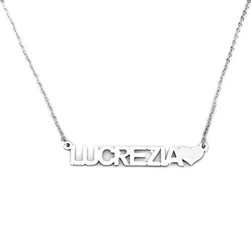 Beloved ❤️ collana donna girocollo con nome in acciaio - lunghezza regolabile - anallergica - ciondolo donna, color argento (lucrezia)