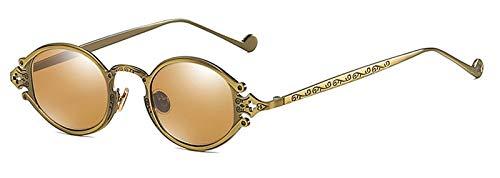 YJKHKL Ins Gothic Kleine Ovale Punk Sonnenbrille Männer Retro Metall Steampunk Sonnenbrille FrauenAntike Bronze Tee Antike Tee