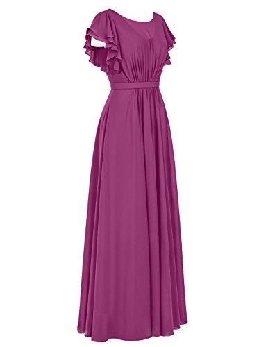 Dresstells Robe de demoiselle d'honneur Robe de cérémonie en mousseline forme empire longueur ras du sol Bordeaux