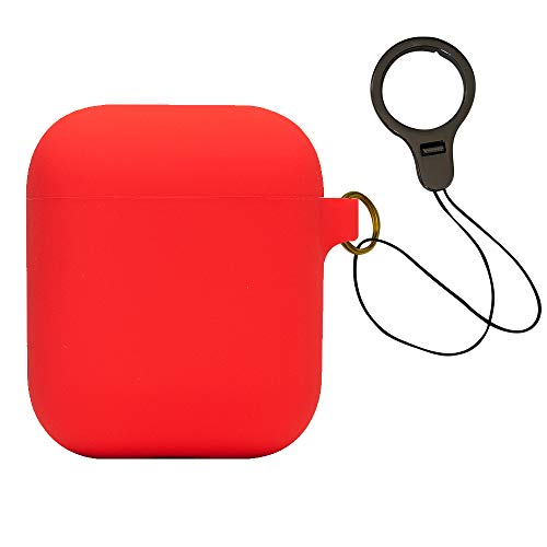 Skin Case with Lanyard Compatible for Airpods Charging case - Red ()