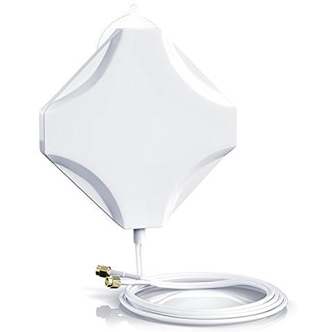 CSL - 4G Hochleistungs LTE Antenne 15dBi| MIMO Technik | Verstärker-Antenne / Richtantenne / Booster / Signalverstärker / Tischantenne | 2x SMA Stecker | neues Modell inkl. Kurzschlussadapter