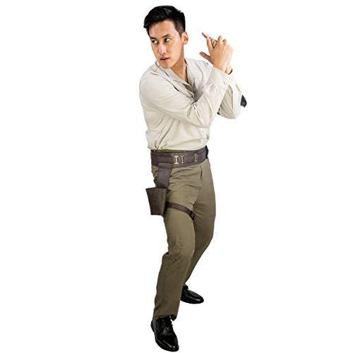 Evere Poe Dameron Kostüm SW 9 The Rise of Skywalker Cosplay Outfit Top Hosen mit Gürtel für Erwachsene Herren Halloween Fancy Dress Kleidung (Kylo Ren Kostüm Zurück)