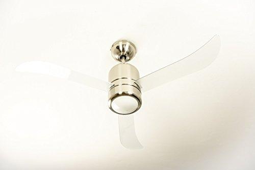 AireRyder Loft ventilador de techo con luz y mando a distancia, carcasa en níquel satinado, aspas transparentes, 112 cm