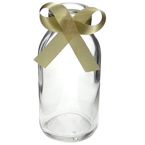 Annastore 12 x kleine Vasen aus Glas H 10,5 cm inkl. cremefarbenem Dekoband - ideal als Vasen für die Tischdeko - Deko Vasen - Mini Vasen Glasvase, Designed by
