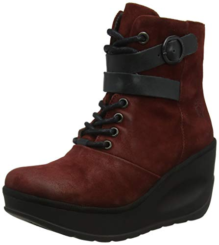Fly London JABI070FLY, Botines para Mujer, Rojo Red/Black 003, 37 EU