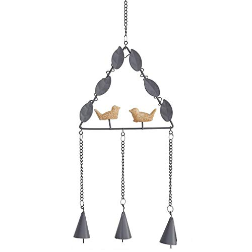 JHEY Draußen Kleine Wind Glocke Anhänger Kreative Vogel Handgemachte Metall Glocke Hängen Ornamente Hausgarten Im Freien Dekorative Windspiele Bambus (Color : Gray, Größe : Triangle Shape)