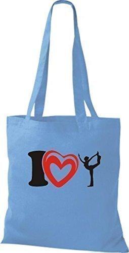 T-shirt In Tessuto T-shirt Borsa In Cotone Amo La Ginnastica Yoga Yogo Color Rosa Chiaro