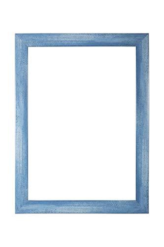 EUROLine 35mm MDF Bilderrahmen nach Maß für 78 cm x 55 cm Bilder, Farbe: Hellblau gewischt, Antireflex-Acrylglas