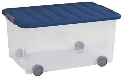 Allibert 225554 Boîte à Roulettes Scotti, Plastique, Transparent/Bleu, 59 x 38,8 x 30 cm