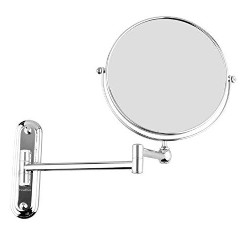 Finether-Espejo de Pared para Baño(Dos Caras,Extensible,Plegable,Una Cara de Espejo Normal,Otra de Aumento,)10x aumento