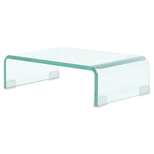 vidaXL TV-Tisch Aufsatz Monitor Erhöhung Glasbühne Podest Transparent 40x25x11cm