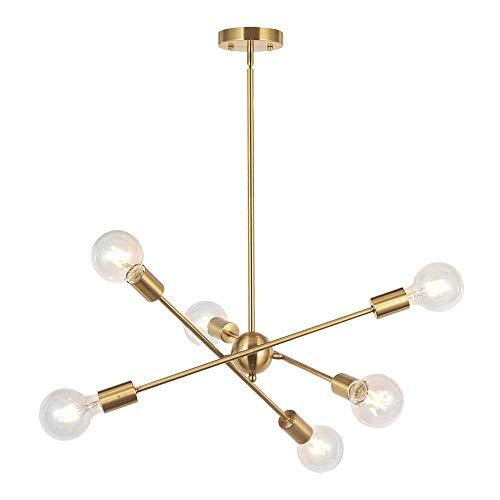 L.HPT 6 Lichter-Moderne Sputnik Kronleuchter Beleuchtung Anhänger Beleuchtung Gebürstet Messing Kronleuchter Mitte des Jahrhunderts Gold Decke Leuchte Einrichtung Für Flur Bar Küche Esszimmer,Gold