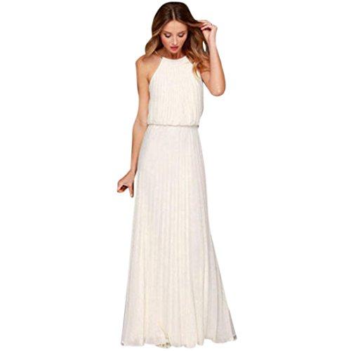 Damen kleid, Sannysis Frau Halter Solid Color Ärmelloses Kleid Kleid Strandkleid Abend Party langes Maxikleid (M, Weiß) (Kleidung Kleid Halfter Weiß)