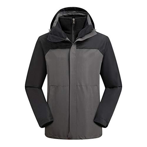 Lazzboy Uomo Giacca Leggera da Pioggia Softshell Abbigliamento da Arrampicata da Montagna A Vento in Due Pezzi Ispessita(M,Grigio)