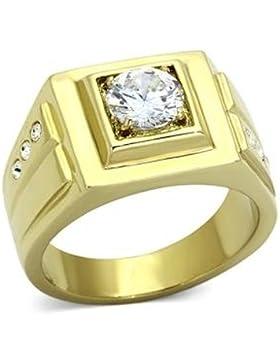 ISADY - Mathieu - Herren-Ring - Edelstahl und 585er 14K Gold platiert - Zirkonium Transparent