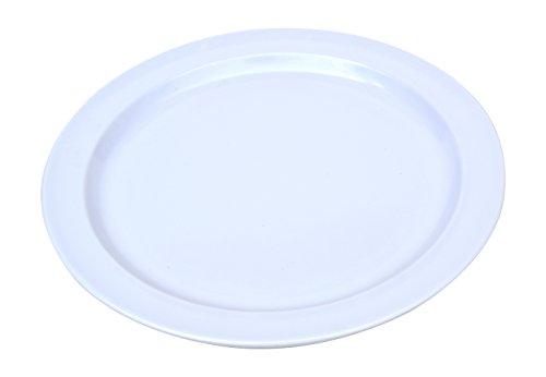 12 Pack Set - Melamine - Narrow Rim Dinner Plate, White - 9 Inch Rim Dinner Plate