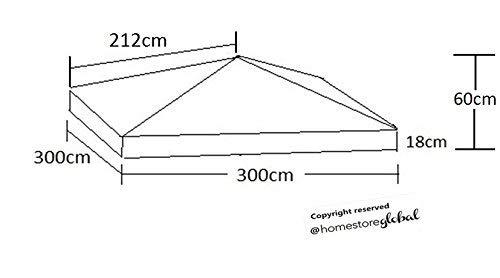 Homestore global, sostituzione della tela di canapa per il tetto gazebo 3m x 3m - materiale idrorepellente tessuto e resistente ai raggi uv - marrone