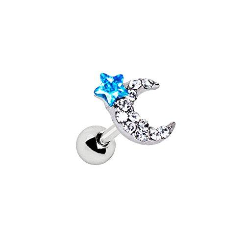 1 x Aqua und Clear Multi Crystal Mond und Stern 1,2 mm x 6 mm Chirurgenstahl Tragus/Knorpel Oberohr Ohrring Conch Barbell Stud Bar Piercingschmuck